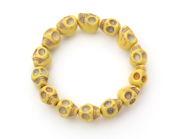 5 Pieces Dyed Bright Yellow Turquoise Skull Stretch Bangle Bracelet ( Total 5 Pieces)