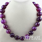 Classic 18mm Faceted Purple Agate Beaded Necklace with Moonlight Clasp