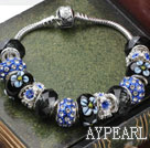 Fashion Style Black Colored Glaze and Blue Colored Glaze with Rhinestone Charm Bracelet
