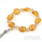 elastic yellow crystal and colored glaze bracelet