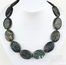 18 inches 25*35mm black stone necklace with moonlight clasp