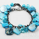 Sky Blue Series Blue Freshwater Pearl Shell and Crystal Bracelet with Metal Chain