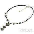 lovely pearl and black lip shell necklace with extendable chain