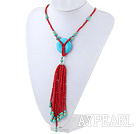 Fashion Style Red Coral Y Shape Tassel Necklace with Turquoise Donut