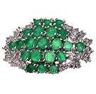 Fashion Round Green Inlaid Malaysian Jade Brooch With Charming Rhinestones