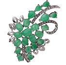 Fashion Branch Mixed Heart And Oval Shape Green Inlaid Malaysian Jade Brooch With Charming Rhinestones