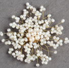 Elegant Women Natural Freshwater Pearl Starry Sky Brooch