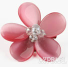 Wholesale Peach Pink Color Cats Eye and Clear Crystal Flower Brooch