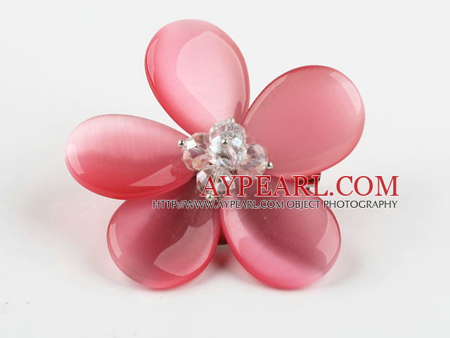 Peach Pink Color Cats Eye and Clear Crystal Flower Brooch