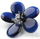 Wholesale Dark Blue Color Cats Eye and Clear and Black Crystal Flower Brooch