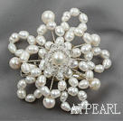 White Freshwater Pearl Crystal Brooch ( can also be hair accessories )