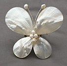Elegant Style Teardrop Shape White Lip Shell and White Pearl Butterfly Shape Brooch
