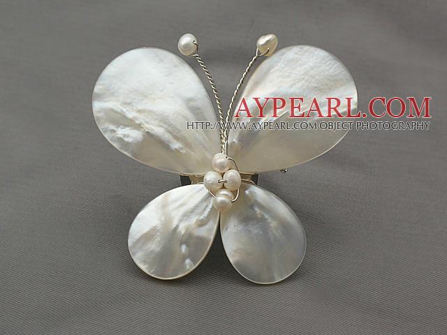 Elegant Style Teardrop Shape White Lip Shell and White Pearl Butterfly Shape Brooch