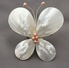 Elegant Style Teardrop Shape White Lip Shell and Pink Pearl Butterfly Shape Brooch