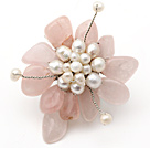 Elegant Style Pink Color Rose Quartz and White Freshwater Pearl Flower Brooch