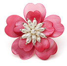 Heart Shape Hot Pink Shell and White Freshwater Pearl Flower Brooch