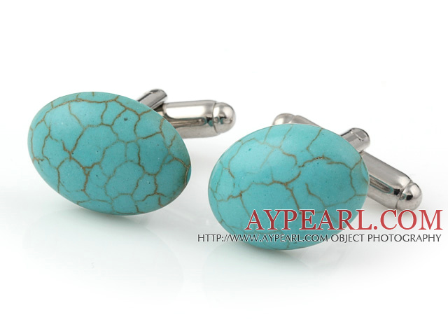 Fashion Half Round Blue Turquoise Cuff Link Decorations For Clothes