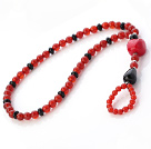 Fashion Black And Round Red Agate And Red Coral Beaded Anklet