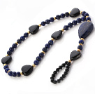 Fashion Black Love Heart Agate And Round Lapis Stone Anklet With Golden Spacers