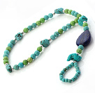 Beautiful Blue And Green Turquoise And Love Heart Lapis Beaded Anklet With Silver Spacers