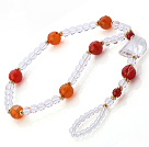 Beautiful Faceted Round Red Agate And White Crystal Beaded Anklet With Golden Spacers