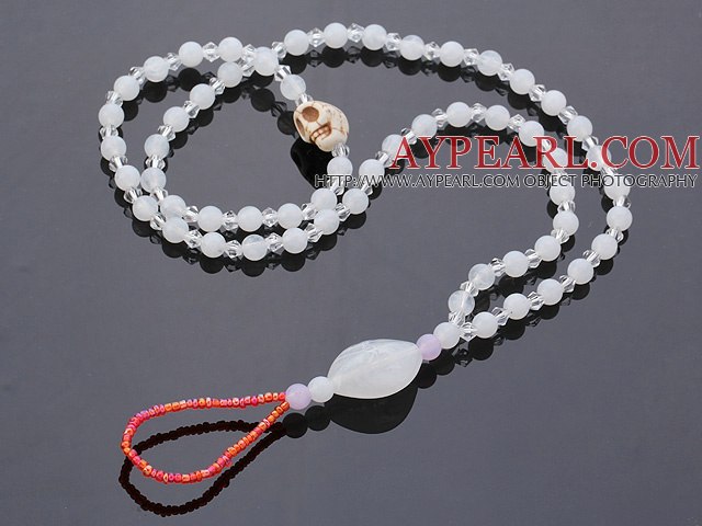 Beautiful 10 Pcs White Series Round Acrylic And Skull Turquoise And Crystal Anklet