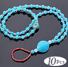 Nice 10 Pcs Double White Blue Acrylic And Skull Turquoise And White Crystal Anklet