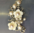 Noble Elegant Natural White Freshwater Pearl Flower Party Brooch