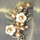 Noble Elegant Natural Pink Freshwater Pearl Flower Party Brooch