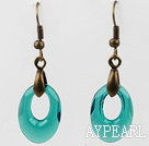 Wholesale Vintage Style Donut Shape Peacock Color Austrian Crystal Earrings