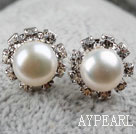 Classic Design Natural White Freshwater Pearl Studs with Rhinestone