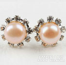 Wholesale Classic Design Natural Pink Freshwater Pearl Studs with Rhinestone