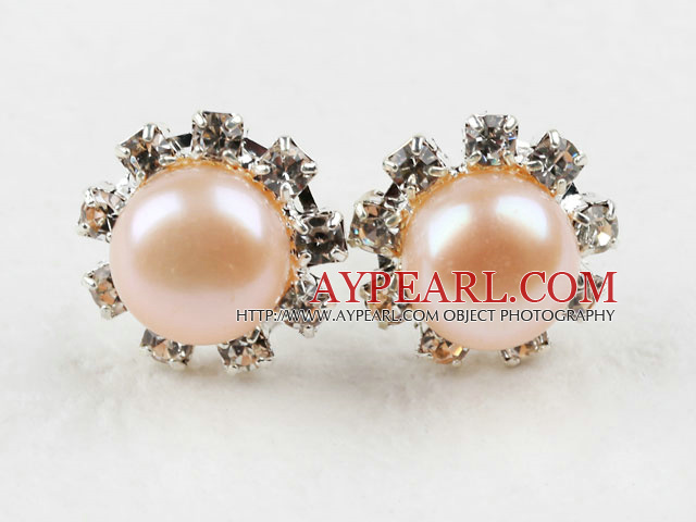 Classic Design Natural Pink Freshwater Pearl Studs with Rhinestone