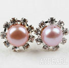 Wholesale Classic Design Natural Purple Freshwater Pearl Studs with Rhinestone