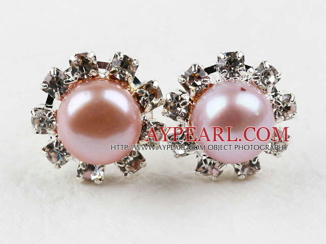 Classic Design Natural Purple Freshwater Pearl Studs with Rhinestone