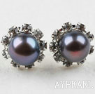 Classic Design Natural Black Freshwater Pearl Studs with Rhinestone