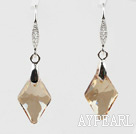 18mm Rhombus Shape Golden Champagne Color Austrian Crystal Earrings
