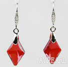 18mm Rhombus Shape Red Austrian Crystal Earrings