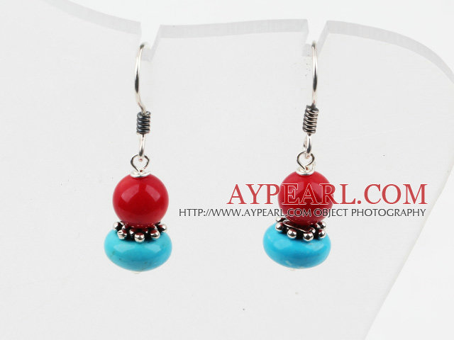 Cute Style Red Coral and Turquoise 925 Sterling Silver Earrings
