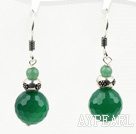 Classic Design Green Agate Dangle 925 Sterling Silver Earrings