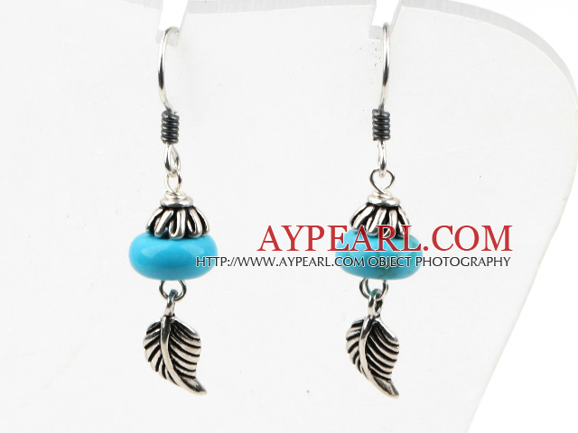 Classic Design Turquoise 925 Sterling Silver Earrings with Feather Accessories