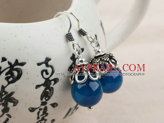 Classic Design Dark Blue Agate Sterling Silver Earrings