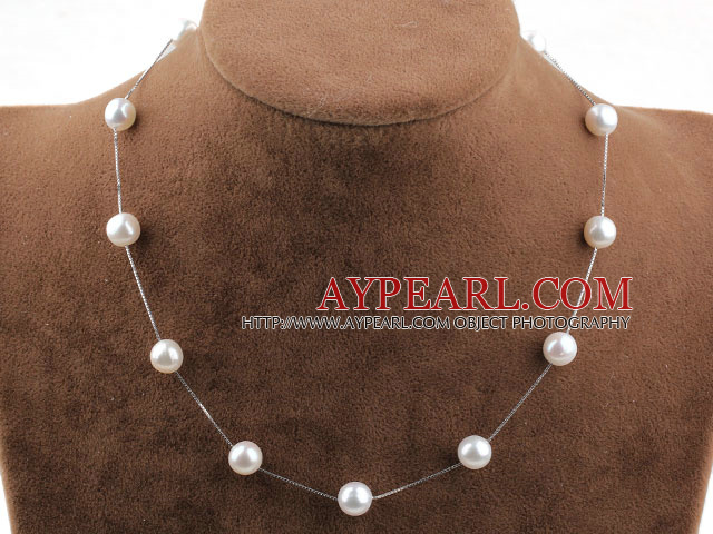 AA Freshwater Pearl Tin Cup Necklace with 925 Sterling Silver White Gold Plating Chain