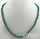 A Grade 6mm Natural Malachite Beaded Necklace