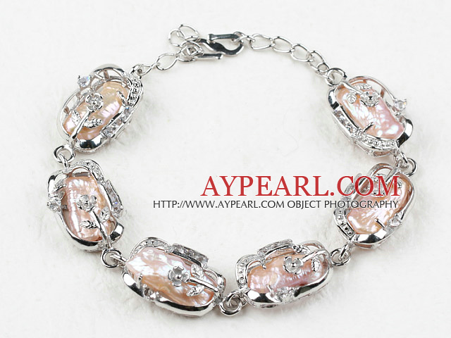 Fashion Style Natural Pink Biwa Pearl Bracelet with Adjustable Chain