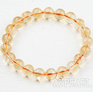 Naturlig 9mm Round Citrin Beaded Elastic Bangle Bracelet