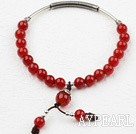 Wholesale Classic Design Red Carnelian Elastic Bangle Bracelet with Sterling Silver Accessories
