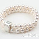 Classic Design Two Strands White Round Freshwater Pearl Elastic Bangle Bracelet with Thai Silver Accessory