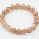 Wholesale 10mm Round Orange Color Moonstone Elastic Bangle Bracelet