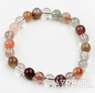 Wholesale 8mm Round Multi Color Qutilated Quartz Beaded Elastic Bangle Bracelet